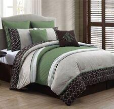 Luxurious Queen Size Bed in a Bag 8-Piece Comforter Set Bedroom Bedding Green