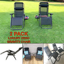 New listing 2 Pack Zero Gravity Chair Patio Outdoor Adjustable Chairs Folding Black New