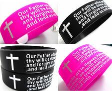 120x English Lord's prayer Silicone bracelets wristbands Wholesale Jewelry Lots