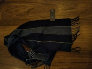 New M&S Mens Scarf Soft Touch Navy acrylic