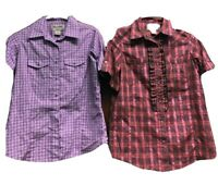Wrancher Wrangler Womens Western Shirts Small Lot Of 2 Pearl Snap PInk Purple