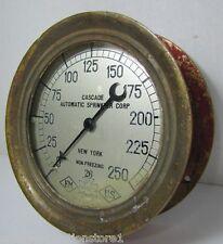 Antique p1906 CASCADE AUTO SPRINKLER Corp US Gauge Co NY Brass Red Fire Alarm