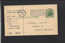 WICHITA,UNION STA.,KANSAS 1921 GOVERNMENT POSTAL CARD, ADVT. THE COLEMAN LAMP CO