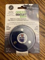 Green Biscuit handling hockey training puck Oilers NHL off-ice stick passing