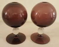 Vintage Pair of Mid Century Modern Purple Amethyst Glass Round Modernist Vases