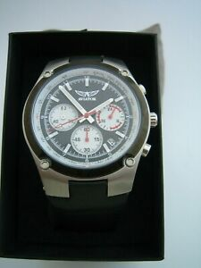 AVIATOR TRAVELLER COLLECTION WATCH AVW9194G73 CHRONOGRAPH BLACK LEATHER GENUINE
