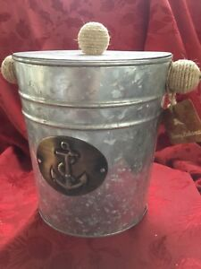 NEW NWT FLAWLESS Exquisite TOMMY BAHAMA Silver ROPE ICE WINE BOTTLE BUCKET