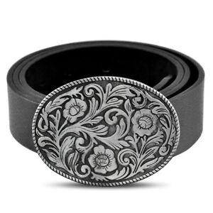 Leather Men's Belts Black Jeans Fashion Silvery Tone Western Cowboy Belt Buckle