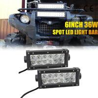 "2x 6""inch 36W CREE LED Work Light Bar Spot Offroad Jeep 4WD Pickup Fog 7"" Boat"
