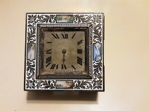 Antique French ? Champleve Enamel Clock w/ 4 Detailed Scenes  * Runs *