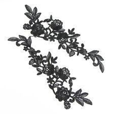 3 Paare schwarz Spitzen Borten Lace Polyester Blumen Applikationen Handarbeit