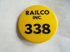Vintage Railco Inc Guardrail & Safety Barriers Construction Co Pinback ID Badge