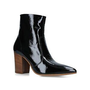 BNIB CARVELA KURT GEIGER WOMEN BLACK PATENT MID HEEL ANKLE BOOTS 6/39 RRP £179