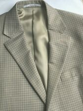 Hickey Freeman light brown checks worsted wool blazer Sz 40 R Made in USA 🇺🇸