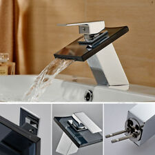 Black Glass Waterfall Spout Bathroom Basin Faucet Single Handle/Hole Mixer Tap