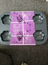 New nonstick Dog Paw Print Muffin Pan mini cake mold 6 baking oven toaster