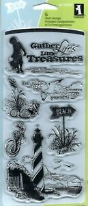 Down By The Seaside #60-30059 Inkadinkado Clear Stamp Set NEW