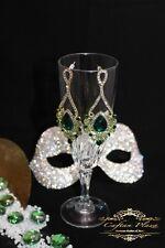 GRANDE Orecchini Vintage pendenti 18 K PLT strass cristalli Accessori da sposa