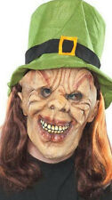 Leprechaun Adult St. Patrick's Day Costume Mask with Attached Green Felt Top Hat