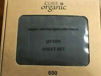100% Organic Cotton 4PCs  Bed Sheet Set 600 TC, Dark Gary Queen Size