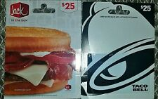 $25 Taco Bell & $25 Jack in the Box Gift Cards