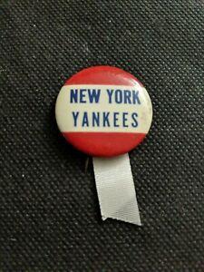 Vintage Rare 1940s New York Yankees Button Pin Ribbon