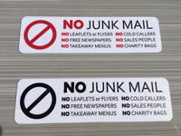 No Junk Mail, No Cold Callers, No Leaflets or Flyers Laminated Vinyl Sticker