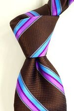 NWOT Ted Baker London Woven Brown w/ Blue & Magenta Stripes Silk Neck Tie USA