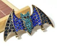 Elegant Deluxe Handcrafted Rhinestone Bat Brooch Pin - Blue Bat