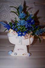 Vintage NAPCOWARE Baby Ceramic Crib Scale Flower Arrangement Planter~# C5739