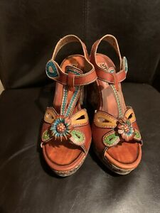 spring step L'Artiste Womens Wedge flower socialite Leather Sandals Size 38 new