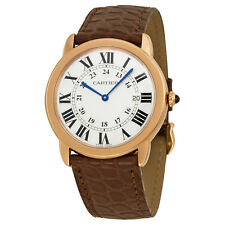 Cartier Ronde Solo De Cartier Silver Dial Brown Leather Ladies Watch W6701008
