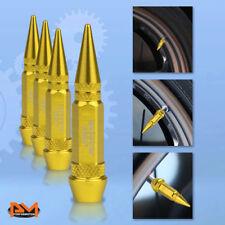 4 Pcs Gold Aluminum Tires Stem Caps 60mm Spiked Lug Nug Wheel Air Valve Cover