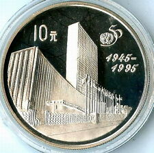 China 1995 United Nations 10 Yuan Silver Coin,Proof