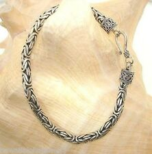 "4.5mm Sterling Silver Oxidized Bali Indonesia Byzantine Bracelet 8.0"""