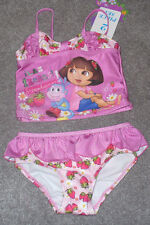 New Dora the Explorer Strawberry Two piece Swimsuit Pink Ruffle Size 3T Cute!