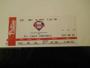1993 Philadelphia Phillies vs. St. Louis Cardinals Ticket Stub (SKU1)