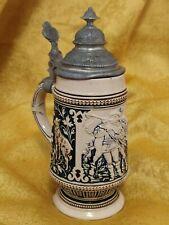 Rare Choppe à bière daté 1845 à décor de Chasse en grès WESTERWALD