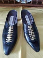 Sexy Versani Italy Gold Corset Slides Buttery Black Leather Shoes 6.5 7