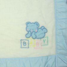 Cuddle Time Baby Blanket White Acrylic Blue Trim Teddy Bear Blocks Vintage USA
