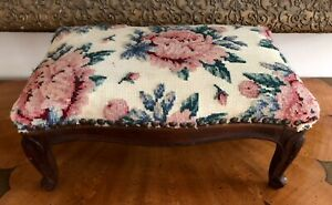 Antique French Carved Mahogany Floral Rose Needlepoint Footstool Nailhead Trim