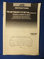 JVC TD-W7SD TD-W717 TD-W718 Cassette Owner Manual Factory Original Real Thing