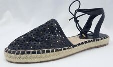 Unisa Womens Black Espadrille Sandals Flats sz 9M Ankle Tie Shoes New Floral
