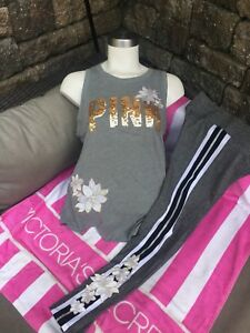 Victoria's Secret PINK Yoga Small Leggings Gray Embroidered Flowers Bling Tank 8