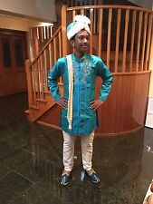 14 Age Size Boys Kurtha Indian Sherwani Bollywood Suit Blue Green Shot Clr D14