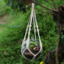 "Handmade 100% Cotton Knitted Macrame Cord Plant Hanger Hanging Basket 20"" 868A"