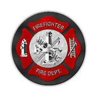 """Novelty Sign - Firefighter, Fire Department, Ladder Company - 12"""" Round Metal"""