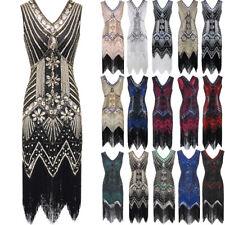 1920s Great Gatsby Charleston Fringe Tassels Sequins Beaded Flapper Dress 6 - 20