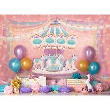 8x6ft Vinyl Unicorn Birthday Carousel Ribbon Ballons Photo Backdrop Background
