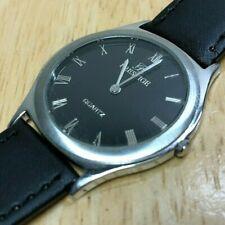 Prestige Swiss Mens Ultra Thin 23k Gold Plated Analog Quartz Watch Hour~New Batt